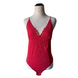 Free People | red lace v neck body suit